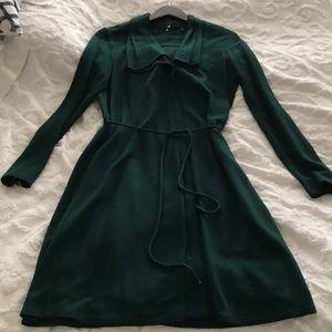 Elie Tahari evergreen long sleeve wool blend dress